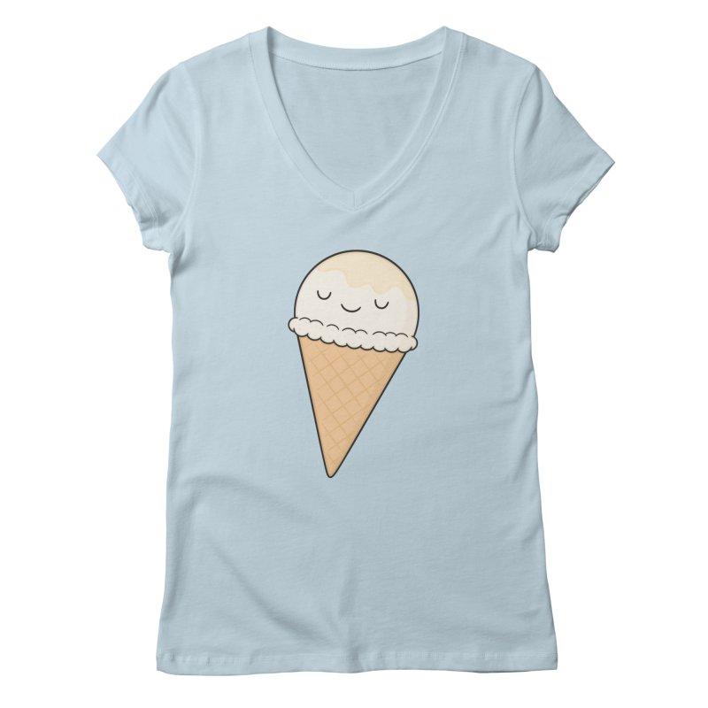Ice Cream in Women's Regular V-Neck Baby Blue by Kim Vervuurt