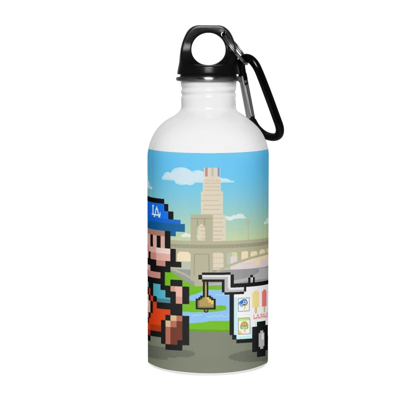 Super Mario Paletero Serves in Up in Los Angeles - Red Overalls Accessories Water Bottle by Kindalikesorta - Art Prints, Custom T-Shirts + Mor