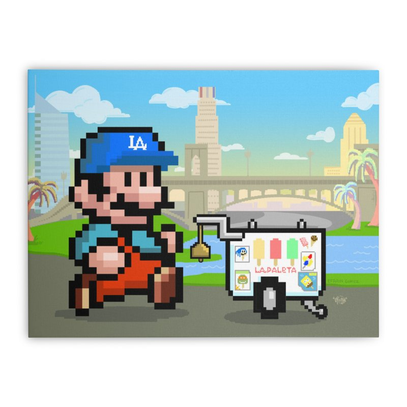 Super Mario Paletero Serves in Up in Los Angeles - Red Overalls Home Stretched Canvas by Kindalikesorta - Art Prints, Custom T-Shirts + Mor