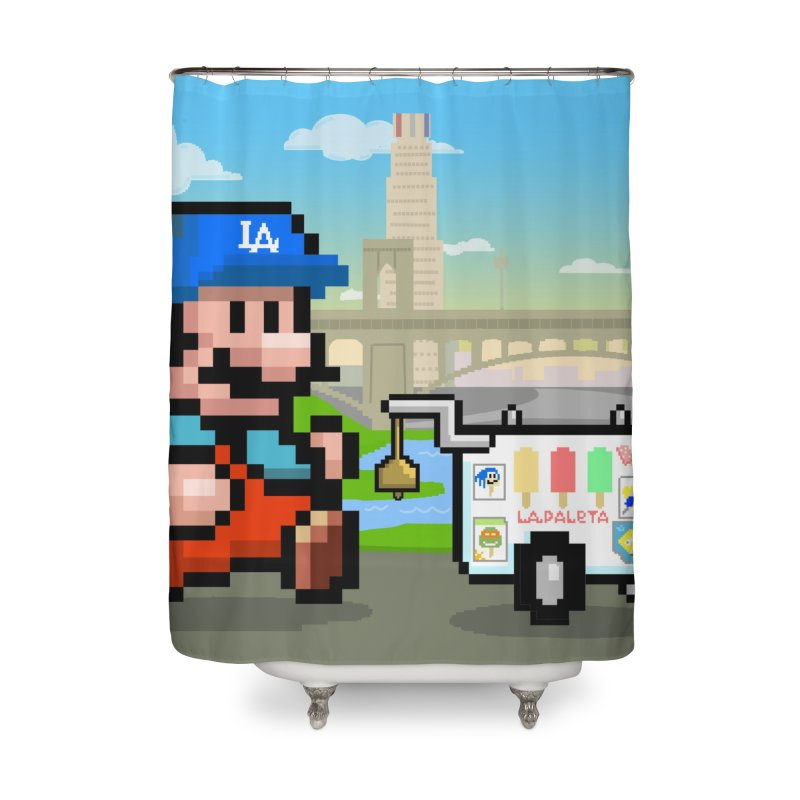 Super Mario Paletero Serves in Up in Los Angeles - Red Overalls Home Shower Curtain by Kindalikesorta - Art Prints, Custom T-Shirts + Mor