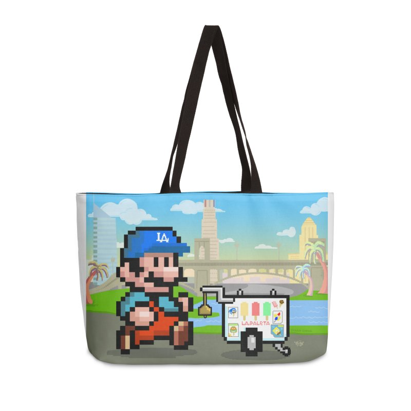 Super Mario Paletero Serves in Up in Los Angeles - Red Overalls Accessories Weekender Bag Bag by Kindalikesorta - Art Prints, Custom T-Shirts + Mor
