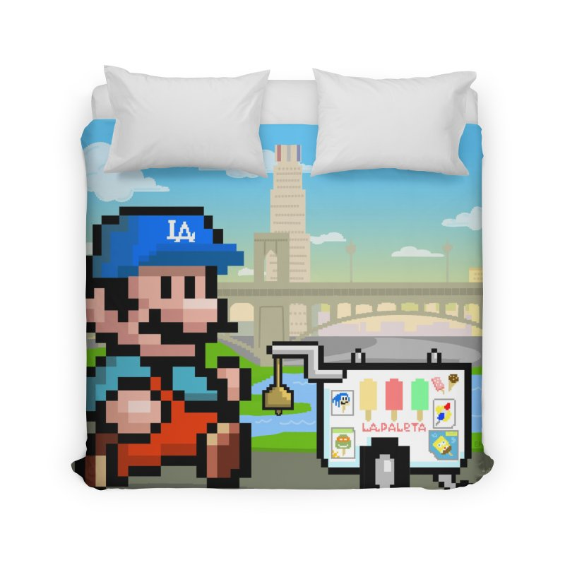 Super Mario Paletero Serves in Up in Los Angeles - Red Overalls Home Duvet by Kindalikesorta - Art Prints, Custom T-Shirts + Mor