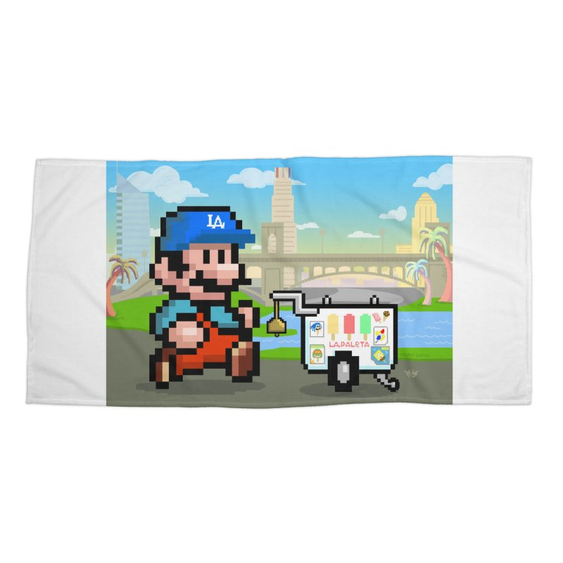 Super Mario Paletero Serves in Up in Los Angeles - Red Overalls Accessories Beach Towel by Kindalikesorta - Art Prints, Custom T-Shirts + Mor