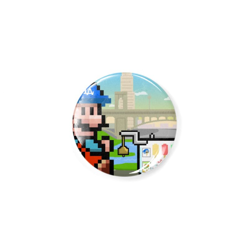 Super Mario Paletero Serves in Up in Los Angeles - Red Overalls Accessories Button by Kindalikesorta - Art Prints, Custom T-Shirts + Mor