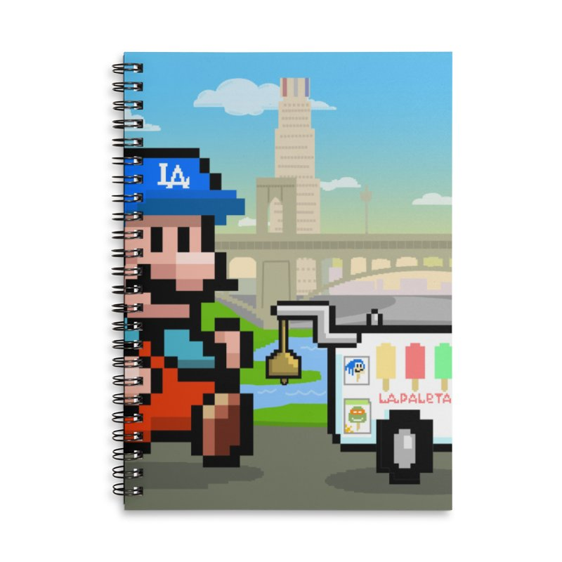 Super Mario Paletero Serves in Up in Los Angeles - Red Overalls Accessories Lined Spiral Notebook by Kindalikesorta - Art Prints, Custom T-Shirts + Mor