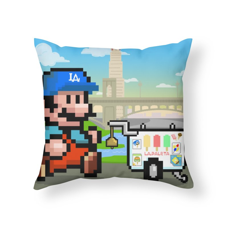 Super Mario Paletero Serves in Up in Los Angeles - Red Overalls Home Throw Pillow by Kindalikesorta - Art Prints, Custom T-Shirts + Mor