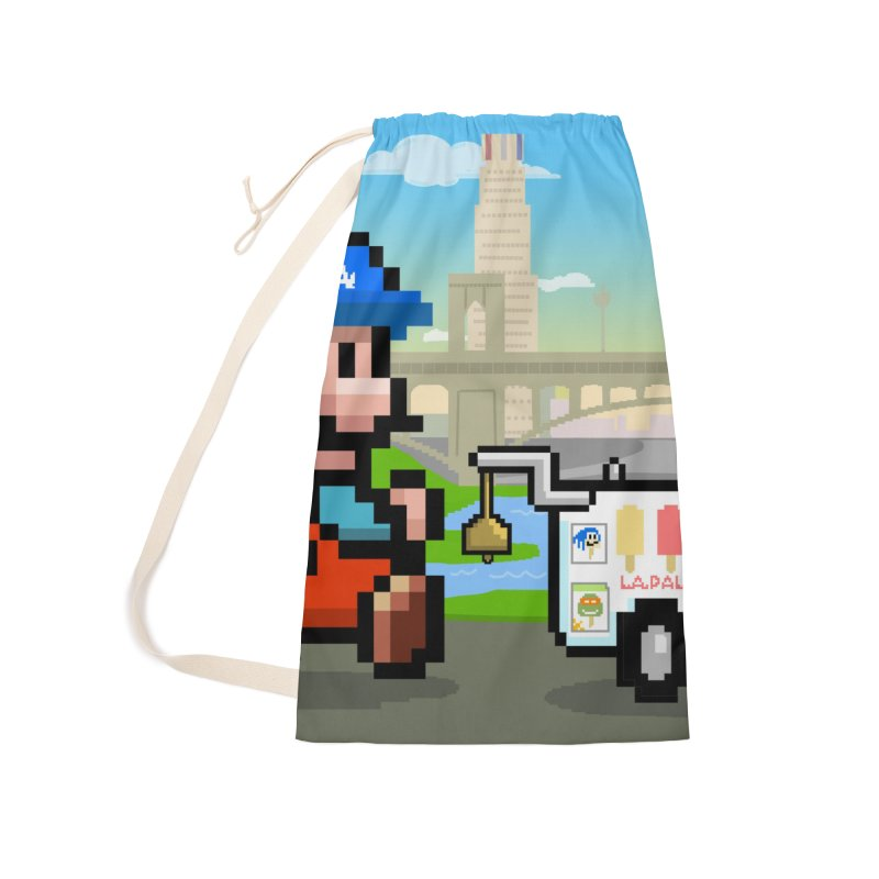 Super Mario Paletero Serves in Up in Los Angeles - Red Overalls Accessories Laundry Bag Bag by Kindalikesorta - Art Prints, Custom T-Shirts + Mor