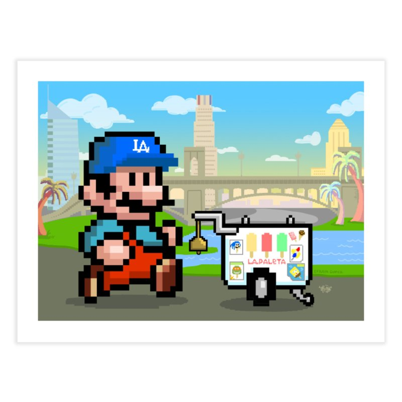 Super Mario Paletero Serves in Up in Los Angeles - Red Overalls Home Fine Art Print by Kindalikesorta - Art Prints, Custom T-Shirts + Mor