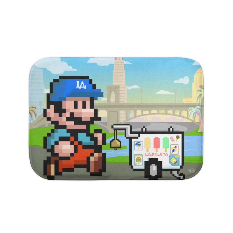 Super Mario Paletero Serves in Up in Los Angeles - Red Overalls Home Bath Mat by Kindalikesorta - Art Prints, Custom T-Shirts + Mor