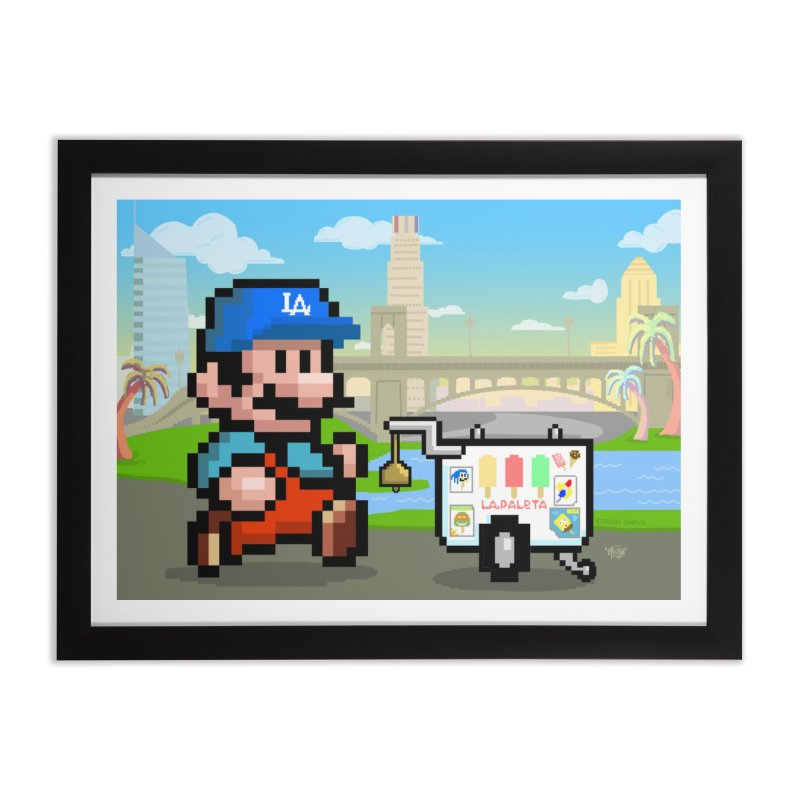 Super Mario Paletero Serves in Up in Los Angeles - Red Overalls Home Framed Fine Art Print by Kindalikesorta - Art Prints, Custom T-Shirts + Mor