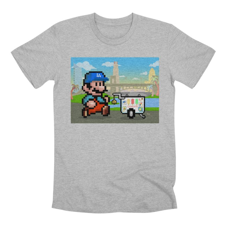 Super Mario Paletero Serves in Up in Los Angeles - Red Overalls Men's Premium T-Shirt by Kindalikesorta - Art Prints, Custom T-Shirts + Mor