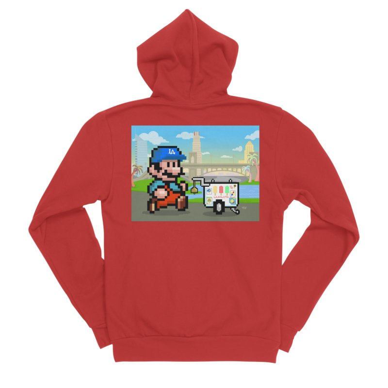Super Mario Paletero Serves in Up in Los Angeles - Red Overalls Men's Sponge Fleece Zip-Up Hoody by Kindalikesorta - Art Prints, Custom T-Shirts + Mor