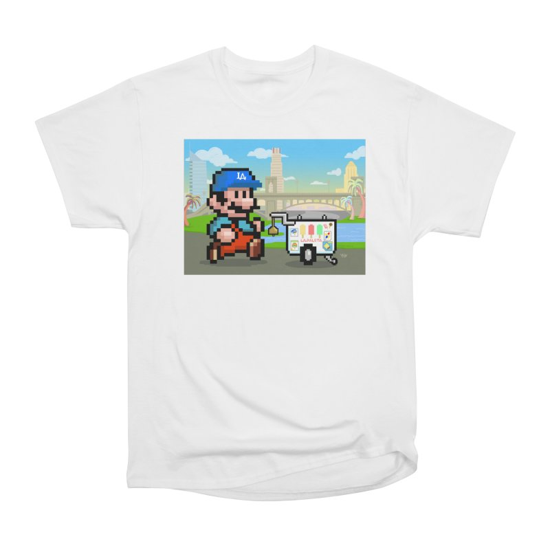 Super Mario Paletero Serves in Up in Los Angeles - Red Overalls Men's Heavyweight T-Shirt by Kindalikesorta - Art Prints, Custom T-Shirts + Mor