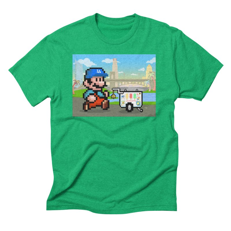 Super Mario Paletero Serves in Up in Los Angeles - Red Overalls Men's Triblend T-Shirt by Kindalikesorta - Art Prints, Custom T-Shirts + Mor