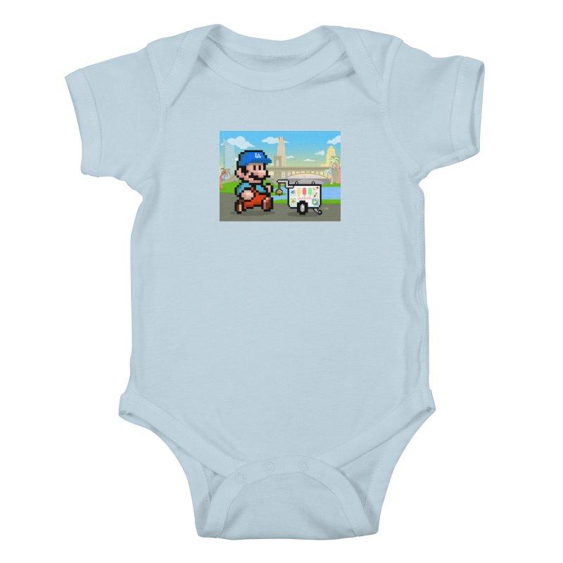 Super Mario Paletero Serves in Up in Los Angeles - Red Overalls Kids Baby Bodysuit by Kindalikesorta - Art Prints, Custom T-Shirts + Mor