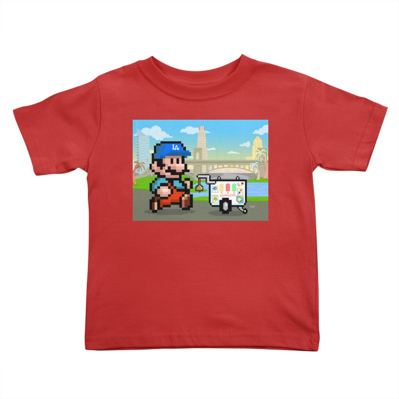 Super Mario Paletero Serves in Up in Los Angeles - Red Overalls Kids Toddler T-Shirt by Kindalikesorta - Art Prints, Custom T-Shirts + Mor