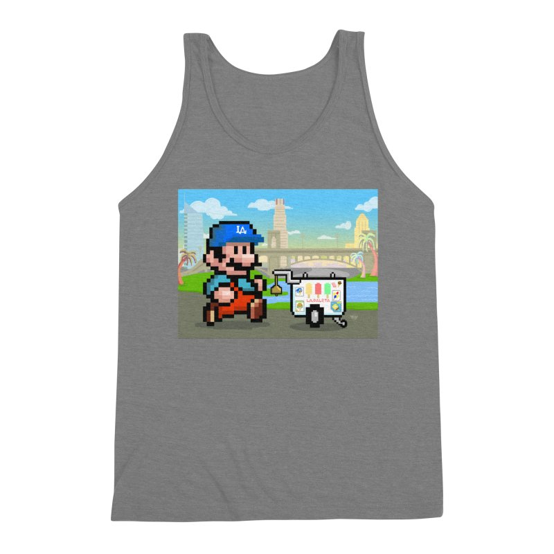 Super Mario Paletero Serves in Up in Los Angeles - Red Overalls Men's Triblend Tank by Kindalikesorta - Art Prints, Custom T-Shirts + Mor