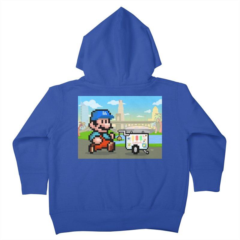 Super Mario Paletero Serves in Up in Los Angeles - Red Overalls Kids Toddler Zip-Up Hoody by Kindalikesorta - Art Prints, Custom T-Shirts + Mor