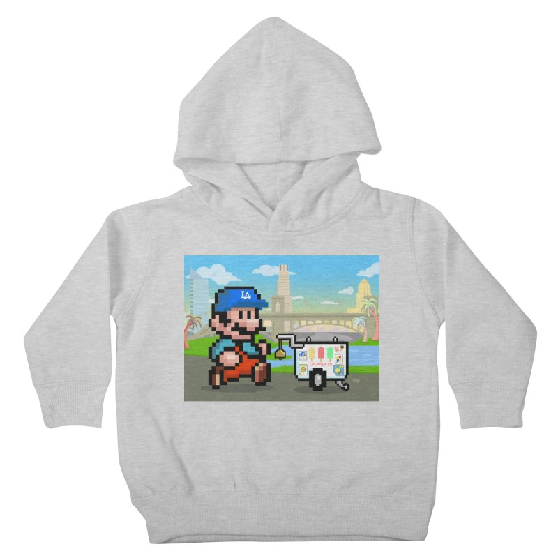 Super Mario Paletero Serves in Up in Los Angeles - Red Overalls Kids Toddler Pullover Hoody by Kindalikesorta - Art Prints, Custom T-Shirts + Mor