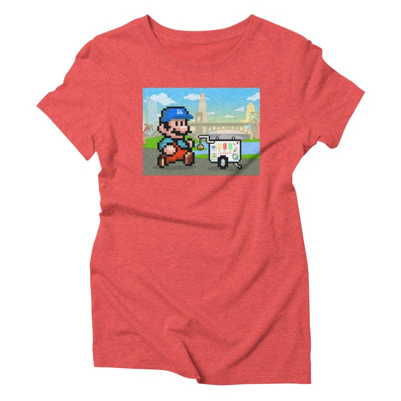 Super Mario Paletero Serves in Up in Los Angeles - Red Overalls Women's Triblend T-Shirt by Kindalikesorta - Art Prints, Custom T-Shirts + Mor