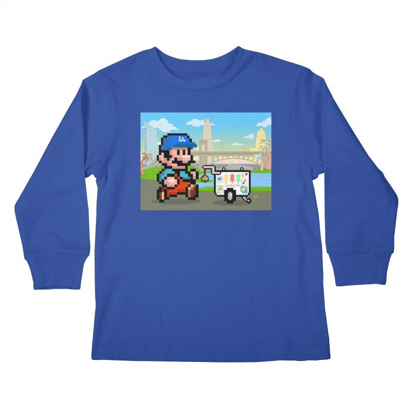 Super Mario Paletero Serves in Up in Los Angeles - Red Overalls Kids Longsleeve T-Shirt by Kindalikesorta - Art Prints, Custom T-Shirts + Mor