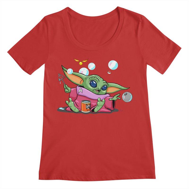 Orko Baby Yoda and Duff Deathly Hallow Bubbles Women's Regular Scoop Neck by Kindalikesorta - Art Prints, Custom T-Shirts + Mor