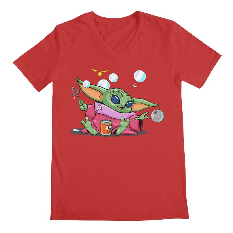 Orko Baby Yoda and Duff Deathly Hallow Bubbles Men's Regular V-Neck by Kindalikesorta - Art Prints, Custom T-Shirts + Mor