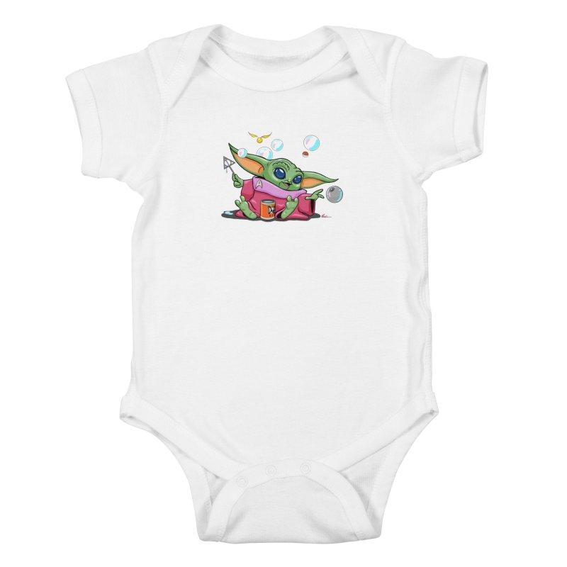 Orko Baby Yoda and Duff Deathly Hallow Bubbles Kids Baby Bodysuit by Kindalikesorta - Art Prints, Custom T-Shirts + Mor