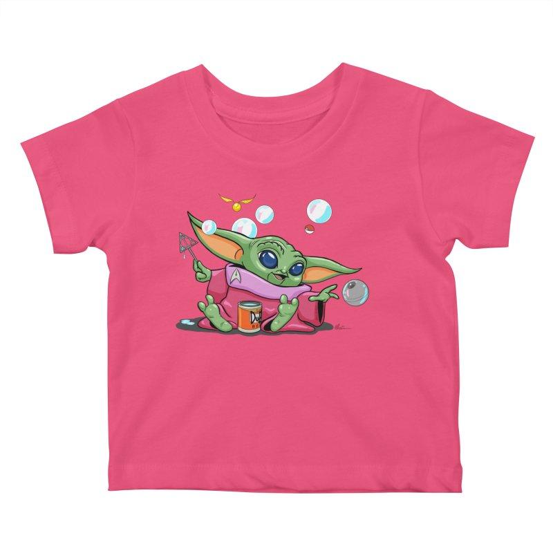 Orko Baby Yoda and Duff Deathly Hallow Bubbles Kids Baby T-Shirt by Kindalikesorta - Art Prints, Custom T-Shirts + Mor