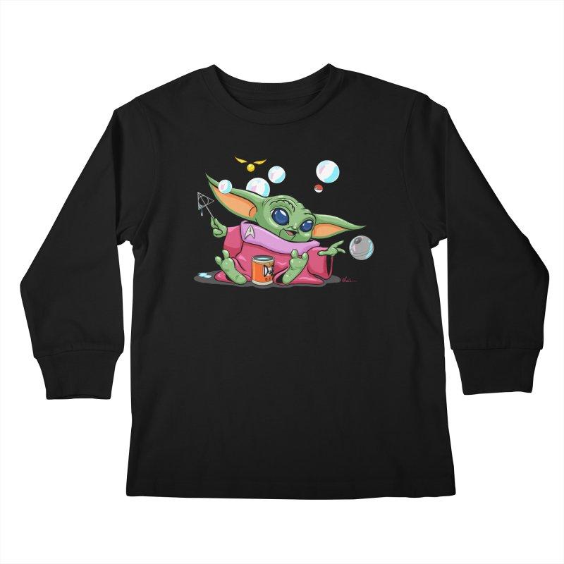 Orko Baby Yoda and Duff Deathly Hallow Bubbles Kids Longsleeve T-Shirt by Kindalikesorta - Art Prints, Custom T-Shirts + Mor