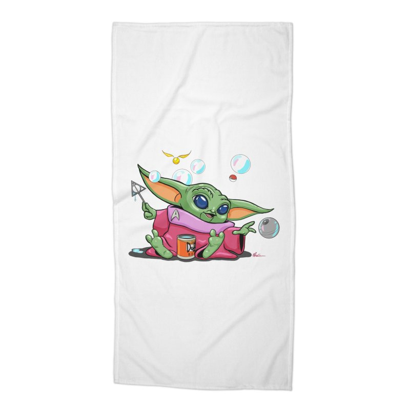 Orko Baby Yoda and Duff Deathly Hallow Bubbles Accessories Beach Towel by Kindalikesorta - Art Prints, Custom T-Shirts + Mor