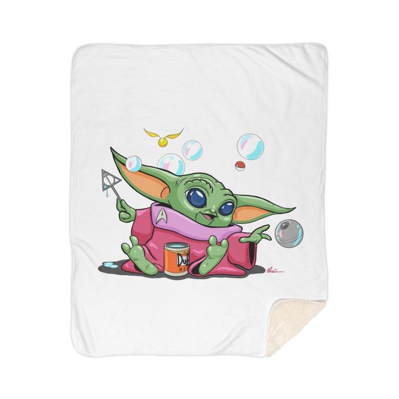 Orko Baby Yoda and Duff Deathly Hallow Bubbles Home Sherpa Blanket Blanket by Kindalikesorta - Art Prints, Custom T-Shirts + Mor