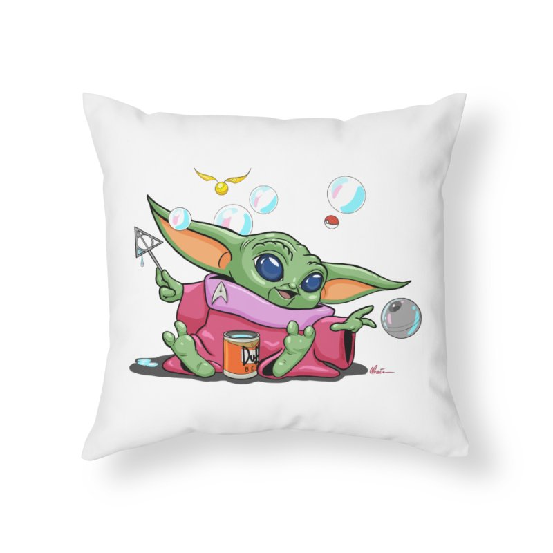 Orko Baby Yoda and Duff Deathly Hallow Bubbles Home Throw Pillow by Kindalikesorta - Art Prints, Custom T-Shirts + Mor