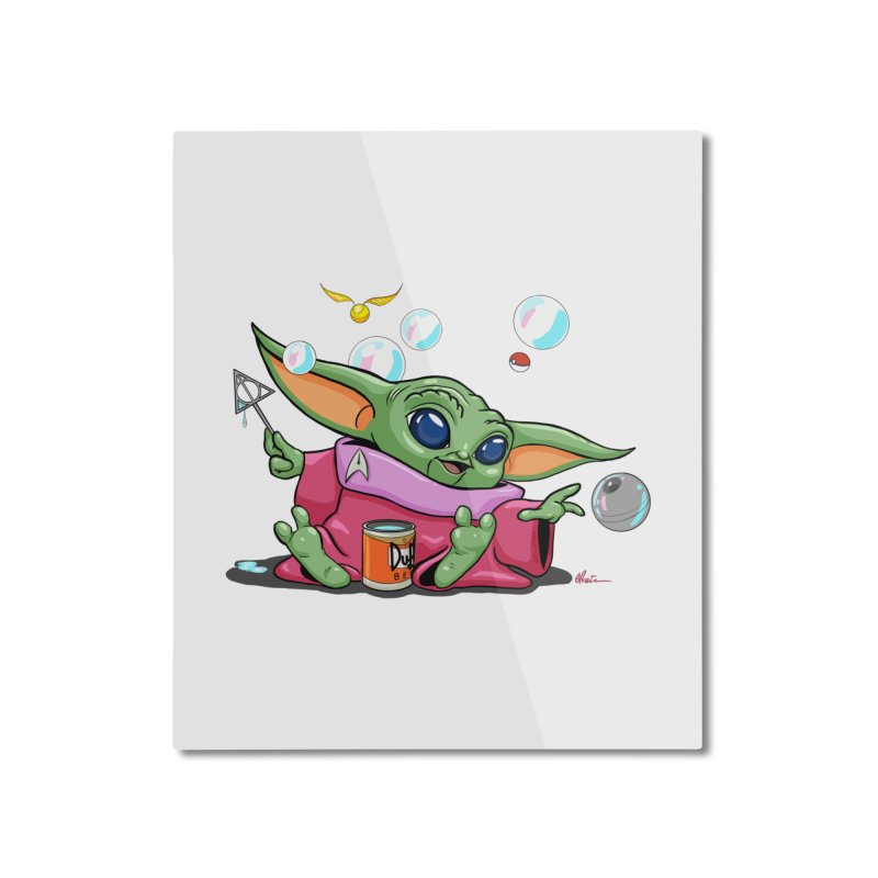 Orko Baby Yoda and Duff Deathly Hallow Bubbles Home Mounted Aluminum Print by Kindalikesorta - Art Prints, Custom T-Shirts + Mor