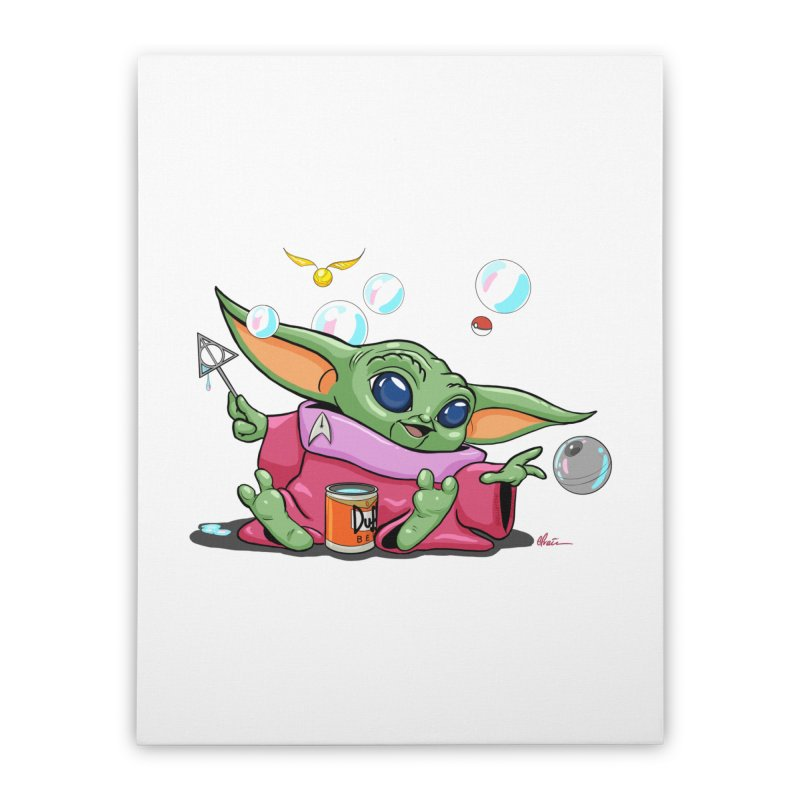 Orko Baby Yoda and Duff Deathly Hallow Bubbles Home Stretched Canvas by Kindalikesorta - Art Prints, Custom T-Shirts + Mor
