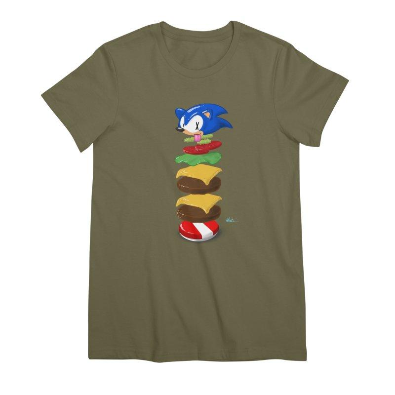 Double Sonic Burger with Cheese No Sauces - v1 Women's Premium T-Shirt by Kindalikesorta - Art Prints, Custom T-Shirts + Mor