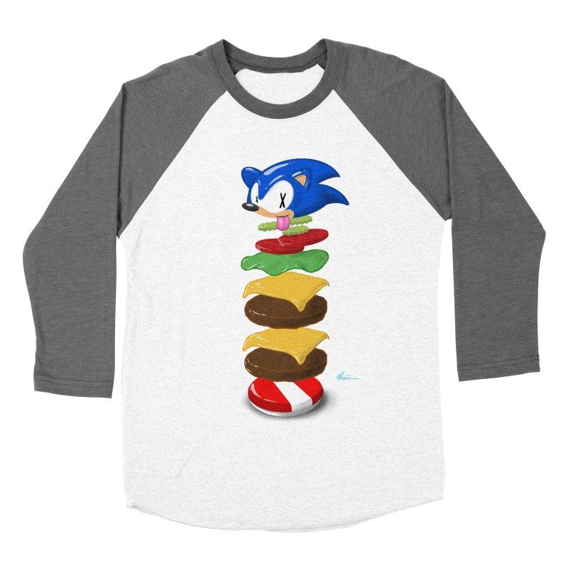 Double Sonic Burger with Cheese No Sauces - v1 Women's Baseball Triblend Longsleeve T-Shirt by Kindalikesorta - Art Prints, Custom T-Shirts + Mor