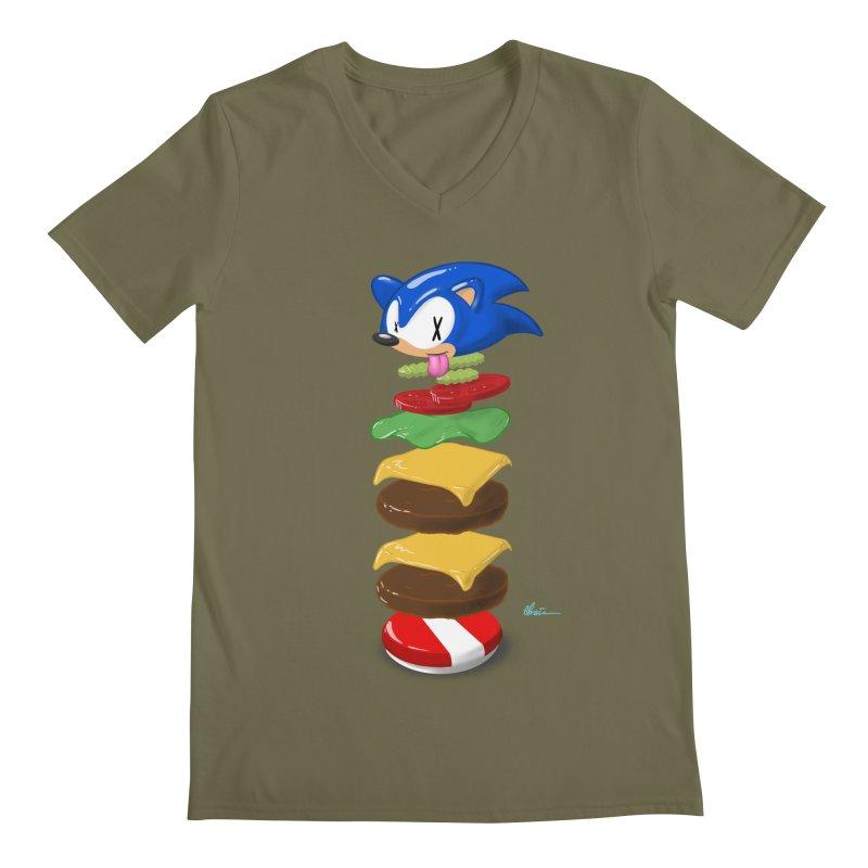 Double Sonic Burger with Cheese No Sauces - v1 Men's Regular V-Neck by Kindalikesorta - Art Prints, Custom T-Shirts + Mor