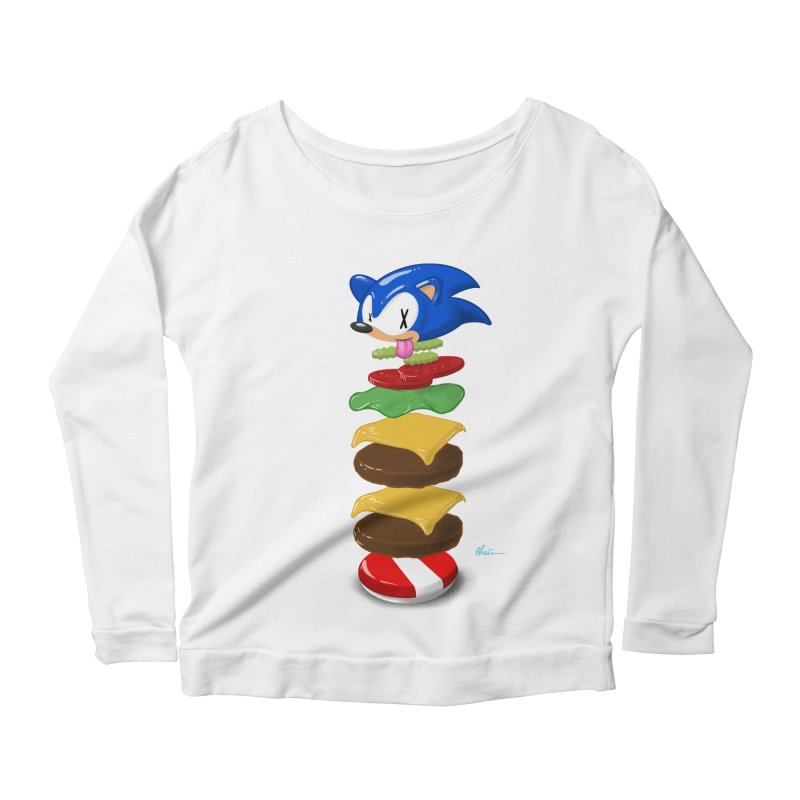 Double Sonic Burger with Cheese No Sauces - v1 Women's Scoop Neck Longsleeve T-Shirt by Kindalikesorta - Art Prints, Custom T-Shirts + Mor