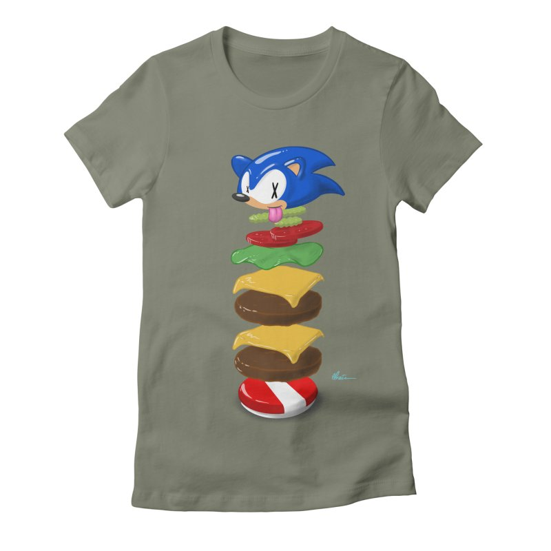 Double Sonic Burger with Cheese No Sauces - v1 Women's Fitted T-Shirt by Kindalikesorta - Art Prints, Custom T-Shirts + Mor