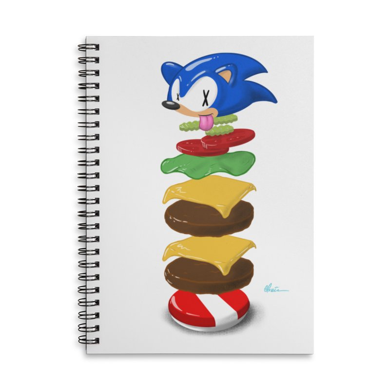 Double Sonic Burger with Cheese No Sauces - v1 Accessories Lined Spiral Notebook by Kindalikesorta - Art Prints, Custom T-Shirts + Mor