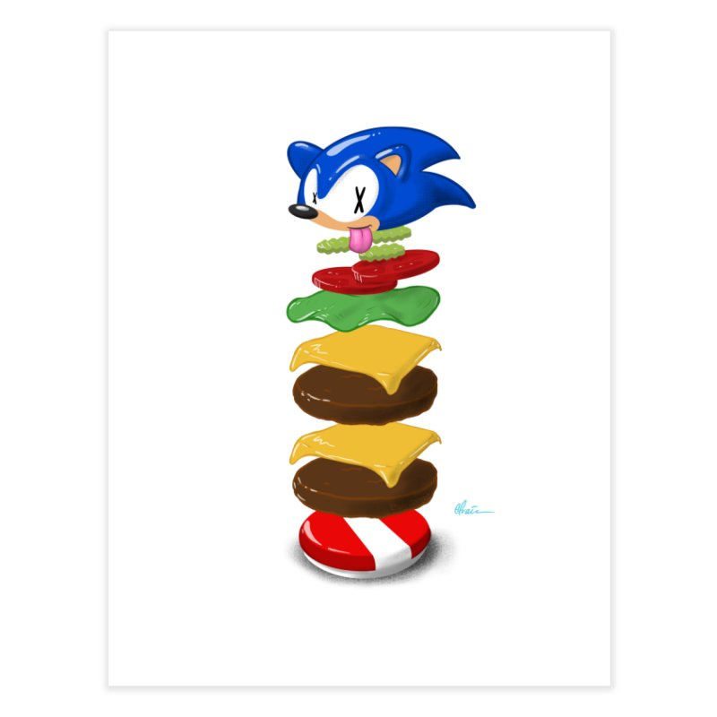 Double Sonic Burger with Cheese No Sauces - v1 Home Fine Art Print by Kindalikesorta - Art Prints, Custom T-Shirts + Mor