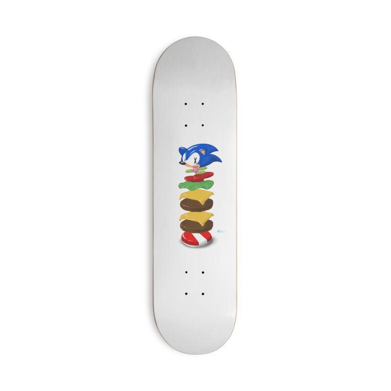 Double Sonic Burger with Cheese No Sauces - v1 Accessories Deck Only Skateboard by Kindalikesorta - Art Prints, Custom T-Shirts + Mor