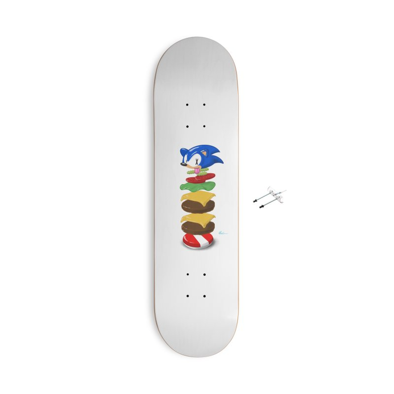 Double Sonic Burger with Cheese No Sauces - v1 Accessories With Hanging Hardware Skateboard by Kindalikesorta - Art Prints, Custom T-Shirts + Mor