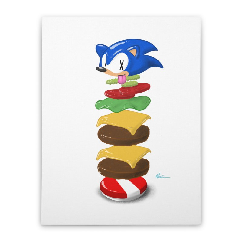 Double Sonic Burger with Cheese No Sauces - v1 Home Stretched Canvas by Kindalikesorta - Art Prints, Custom T-Shirts + Mor