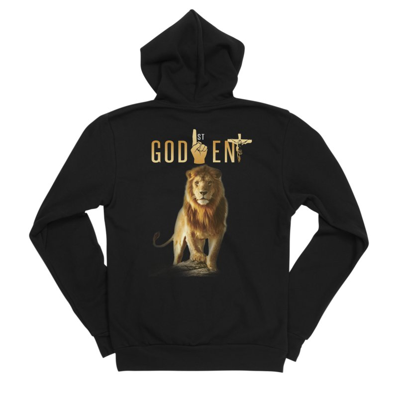 Lion Tee in Women's Sponge Fleece Zip-Up Hoody Black by King James's Artist Shop