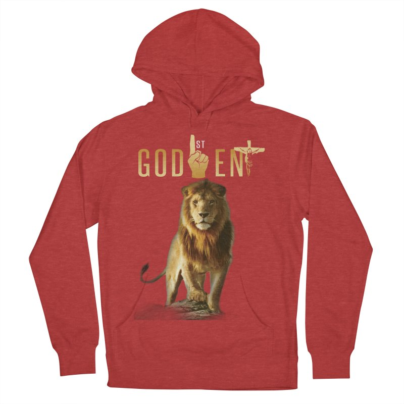 Lion Tee in Men's French Terry Pullover Hoody Heather Red by King James's Artist Shop