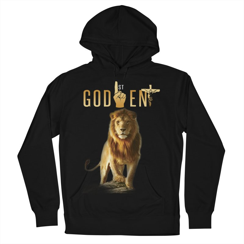 Lion Tee in Men's French Terry Pullover Hoody Black by King James's Artist Shop