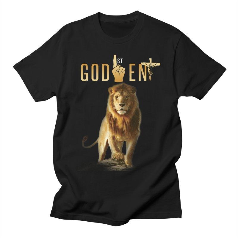 Lion Tee in Men's Regular T-Shirt Black by King James's Artist Shop