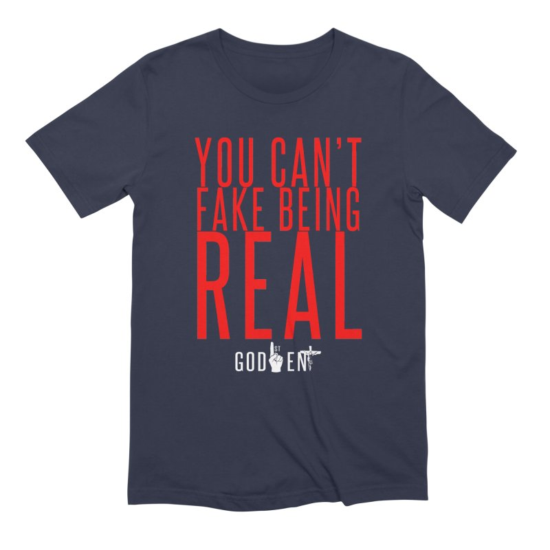 YOU CAN'T FAKE BEING REAL | KING JAMES TEE in Men's Extra Soft T-Shirt Navy by King James's Artist Shop